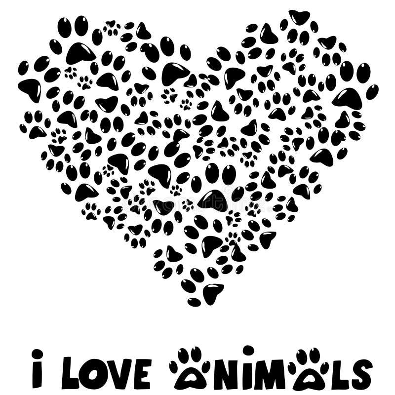 Amo la tarjeta de los animales stock de ilustración