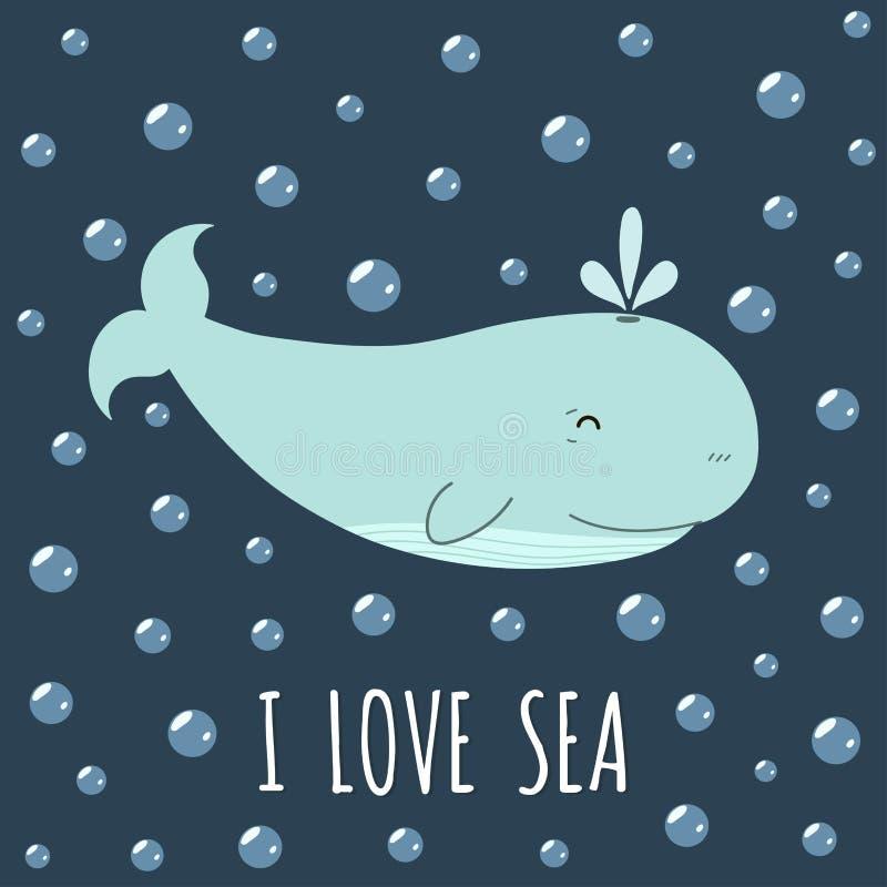 Amo la tarjeta del mar con una ballena linda Impresión linda ilustración del vector