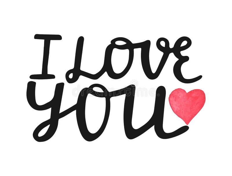 Amo la usted-mano dibujada poniendo letras a cita con el corazón rojo de la acuarela Tarjeta de felicitación de día de San Valent ilustración del vector