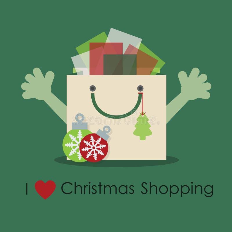 Amo las compras de la Navidad, bolso sonriente lindo del regalo con las manos abiertas ilustración del vector