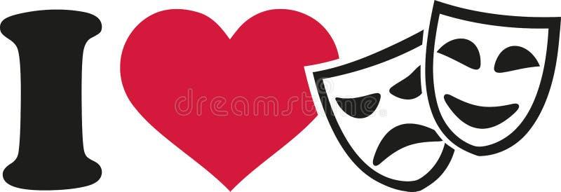 Amo le maschere del teatro illustrazione di stock