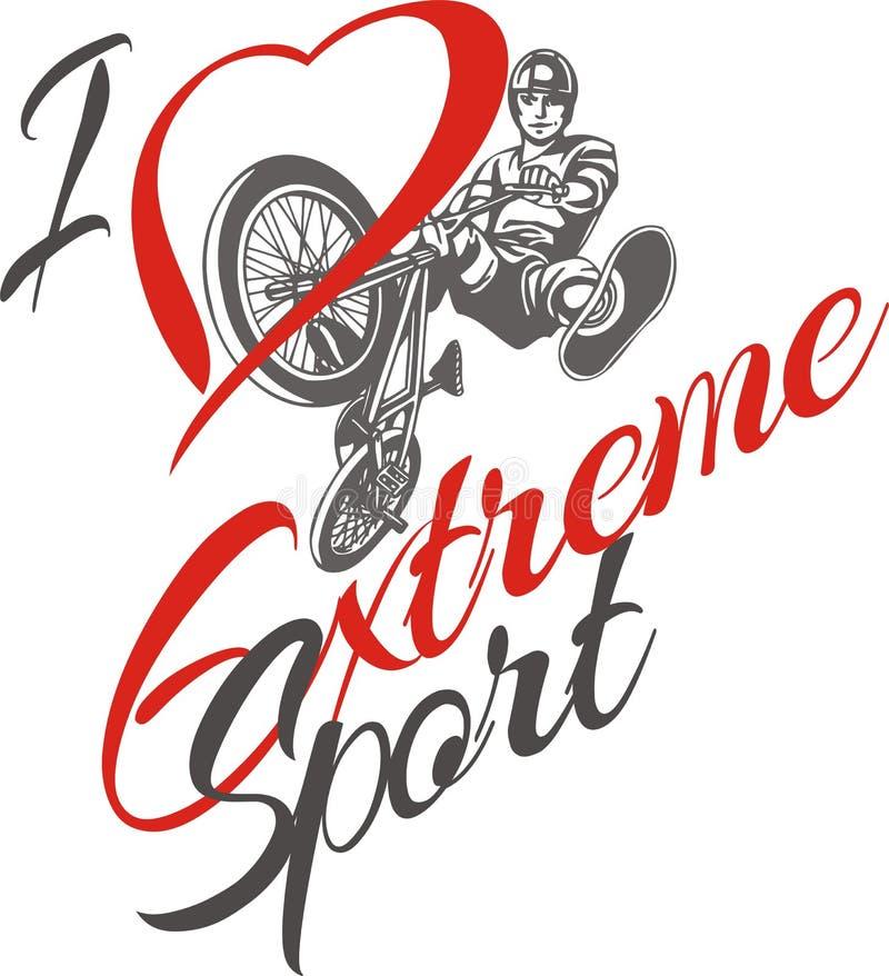 Amo lo sport estremo Cavaliere di BMX - vettore royalty illustrazione gratis