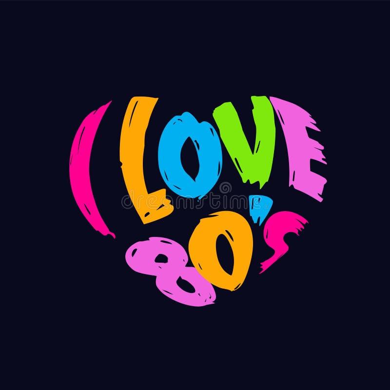 Amo logo del cuore degli anni 80 il retro illustrazione di stock