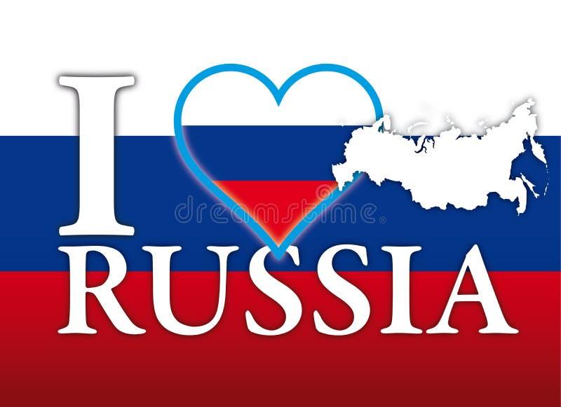 Amo los símbolos de Rusia, de la bandera, del corazón y del mapa ilustración del vector
