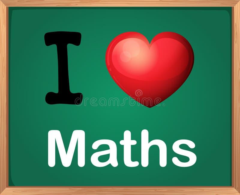 Amo matemáticas stock de ilustración