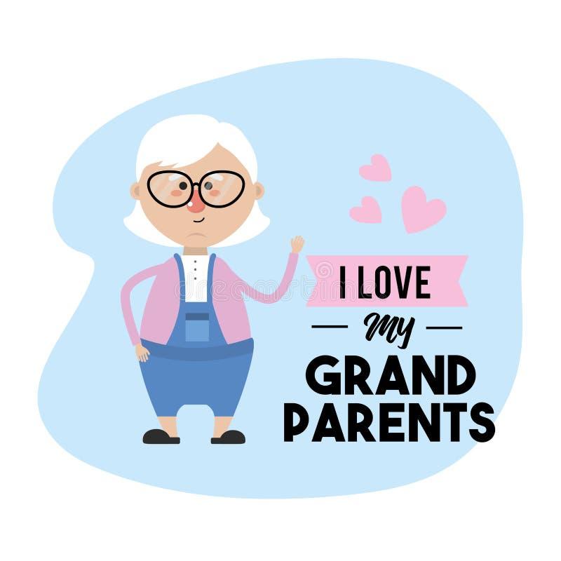 Amo mi diseño de tarjeta de los abuelos stock de ilustración