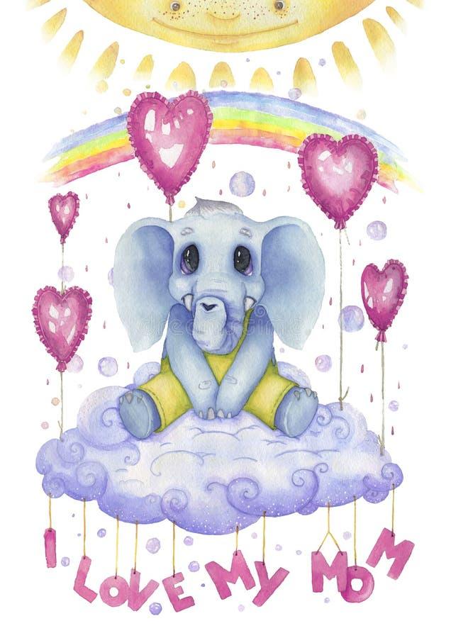 Amo a mi mamá, cartel del watercolour para el cuarto de niños Carácter lindo, pequeño elefante ilustración del vector