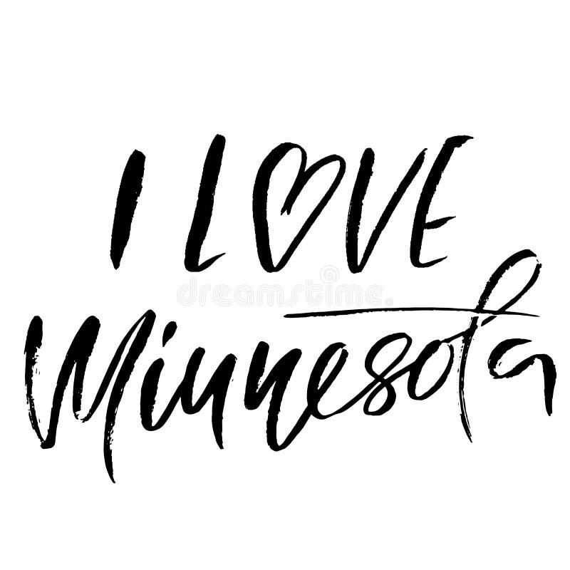 Amo Minnesota Moderno seque las letras del cepillo Impresión retra de la tipografía Inscripción manuscrita del vector Estado de l libre illustration