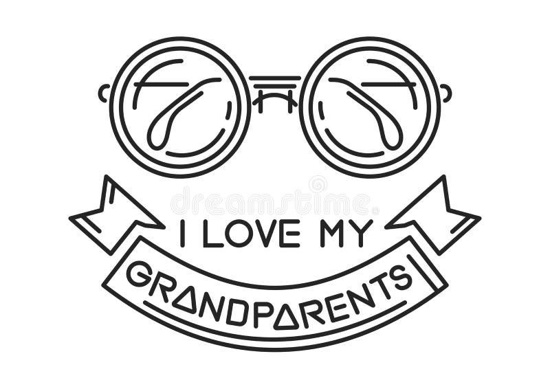Amo a mis abuelos ilustración del vector