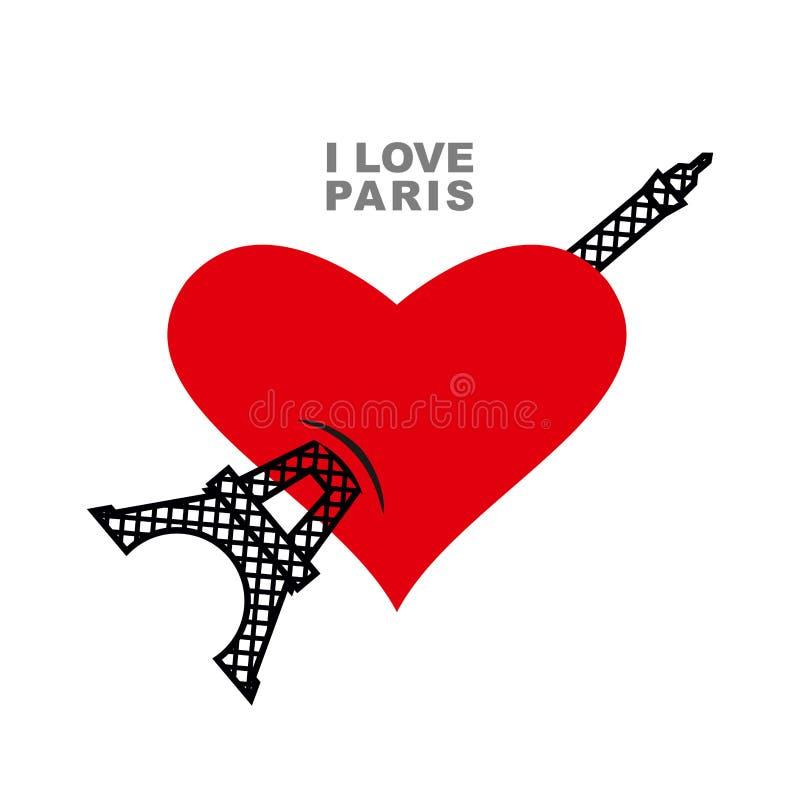 Amo Parigi Simbolo rosso del cuore di amore e della torre Eiffel royalty illustrazione gratis