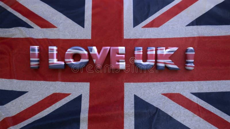 Amo Reino Unido representación 3d imágenes de archivo libres de regalías