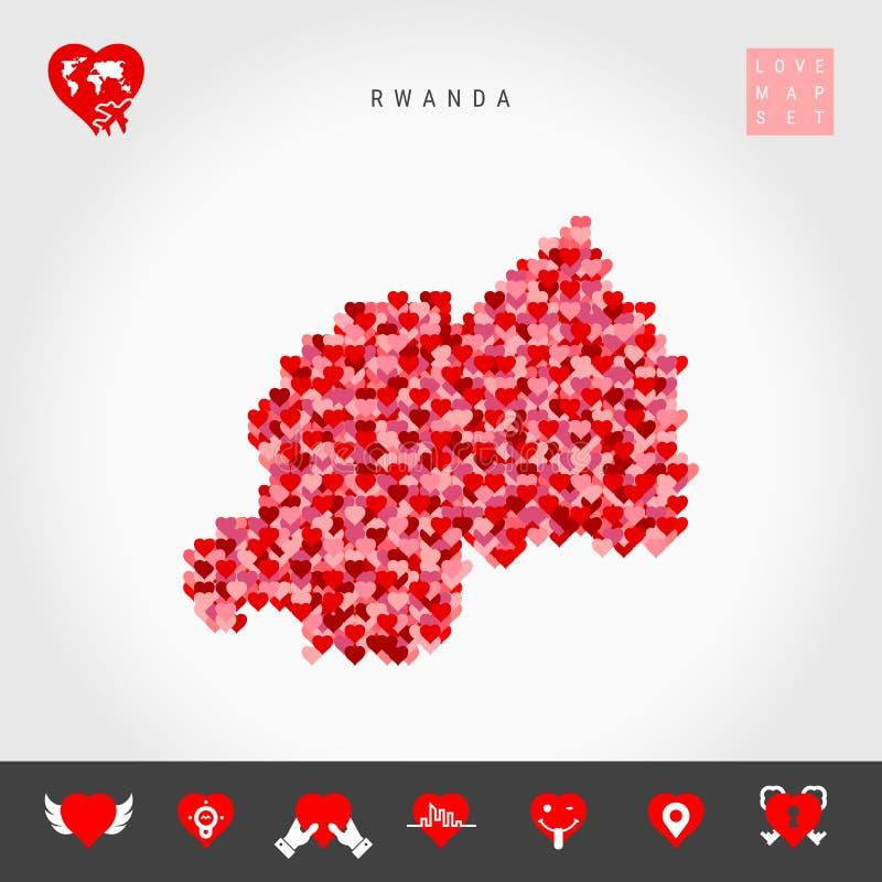Amo Rwanda Los corazones rojos modelan el mapa del vector de Rwanda Conjunto del icono del amor ilustración del vector
