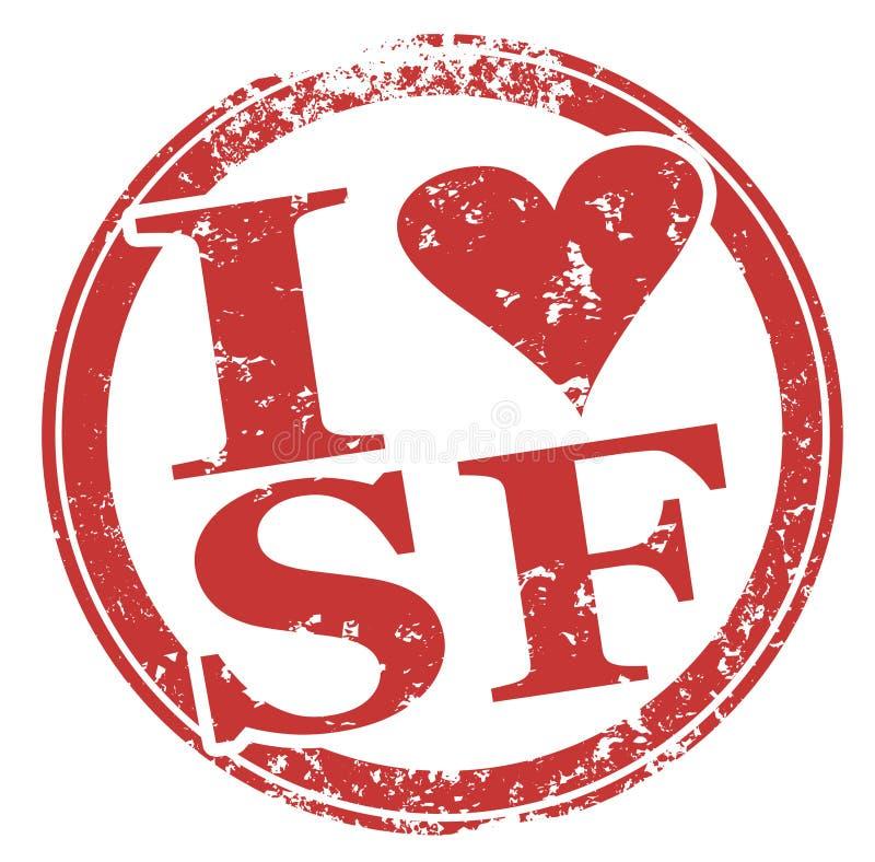 Amo SF San Francisco Round Red Stamp illustrazione di stock