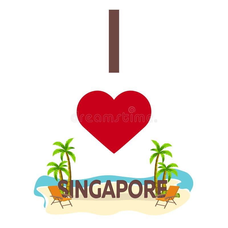 Amo Singapur Viajes Palma, verano, sillón Ejemplo plano del vector libre illustration