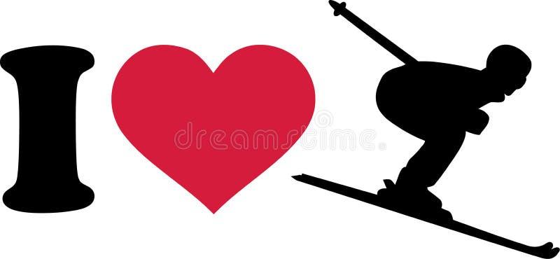 Amo a Ski Downhill ilustración del vector