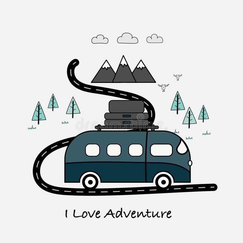 Amo tipografía de la aventura con la furgoneta, las montañas y el árbol forestal ilustración del vector