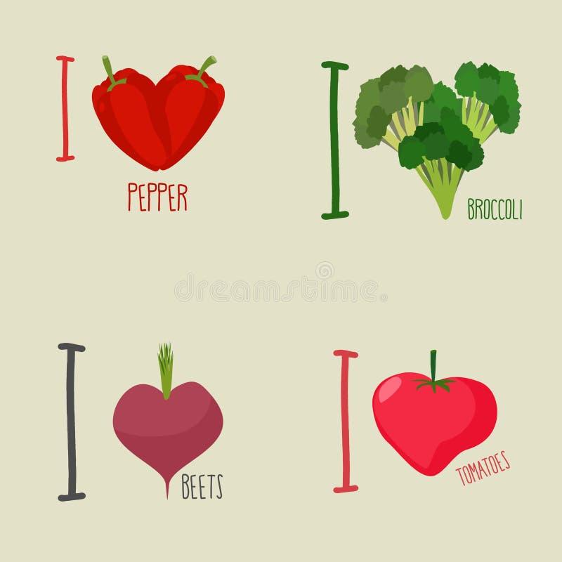 Amo verduras: bróculi y remolachas ilustración del vector