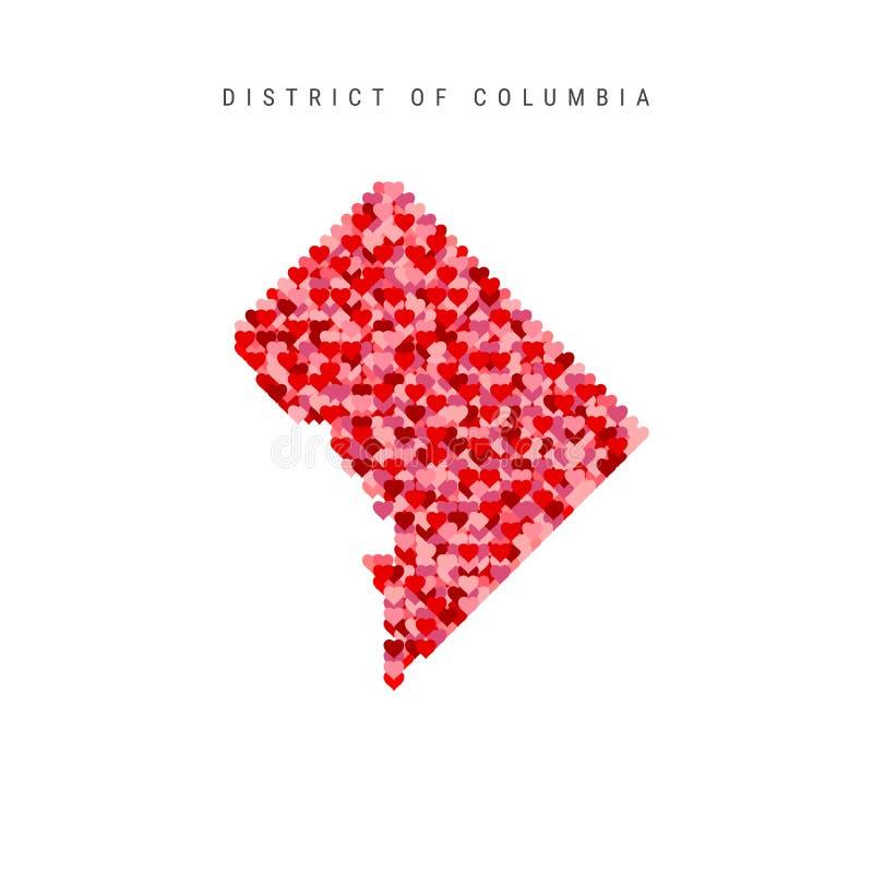 Amo Washington Los corazones rojos modelan el mapa del vector del distrito de Columbia stock de ilustración