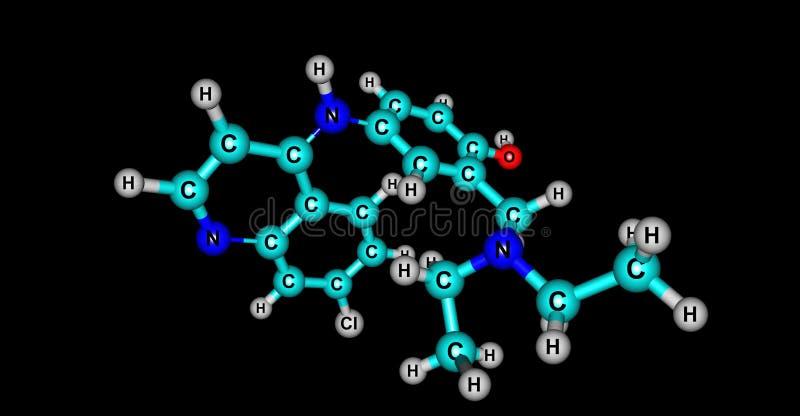 Amodiaquine molekylär struktur som isoleras på svart stock illustrationer