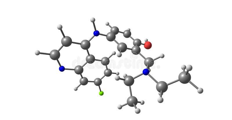 Amodiaquine molekylär struktur som isoleras på vit stock illustrationer