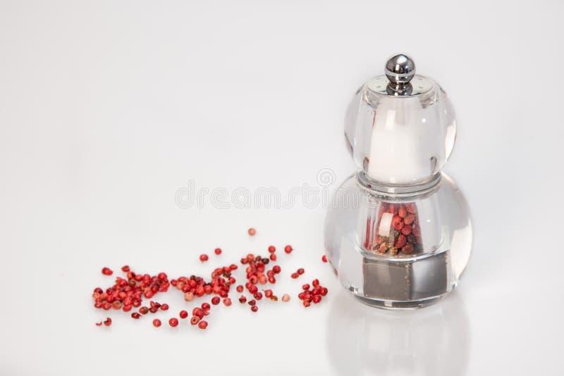 Amoladora con la pimienta roja y la sal fotos de archivo libres de regalías