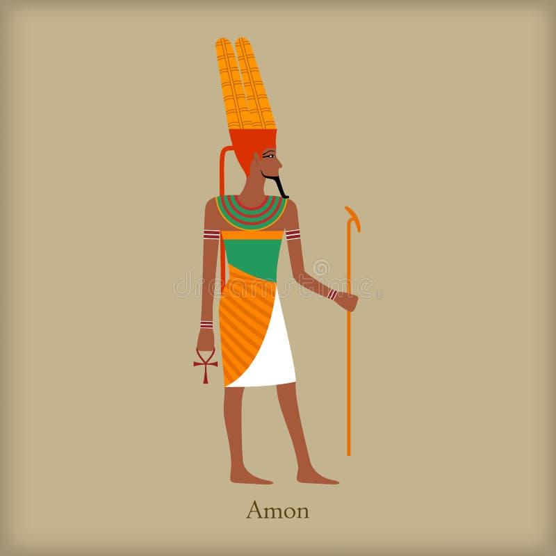 Amon, deus do ícone do vento, estilo liso ilustração do vetor