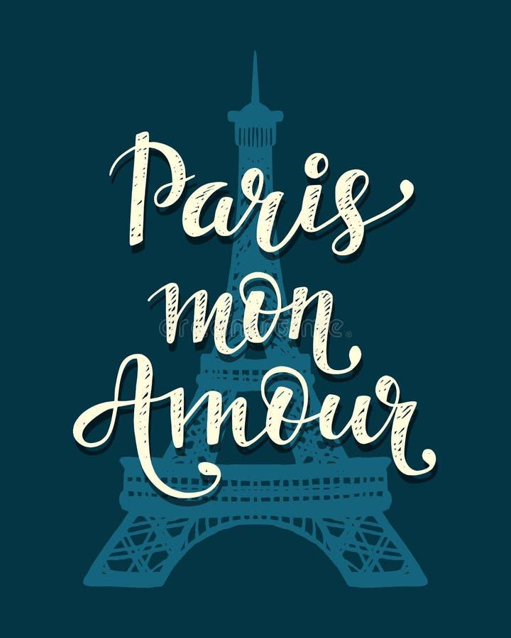 Amorío de París lunes Letras y torre Eiffel de moda dibujadas mano romántica libre illustration