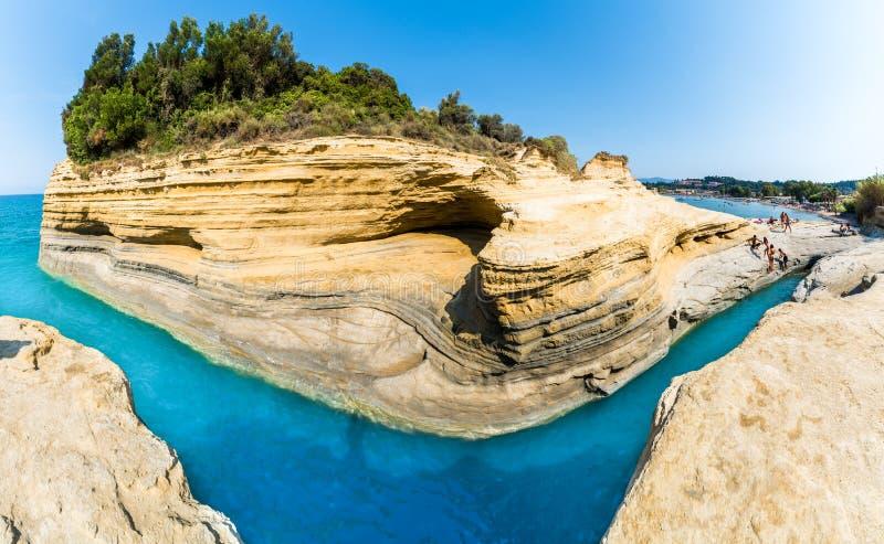 Amorío del canal d ', región de Sidari, isla de Corfú, Grecia foto de archivo libre de regalías