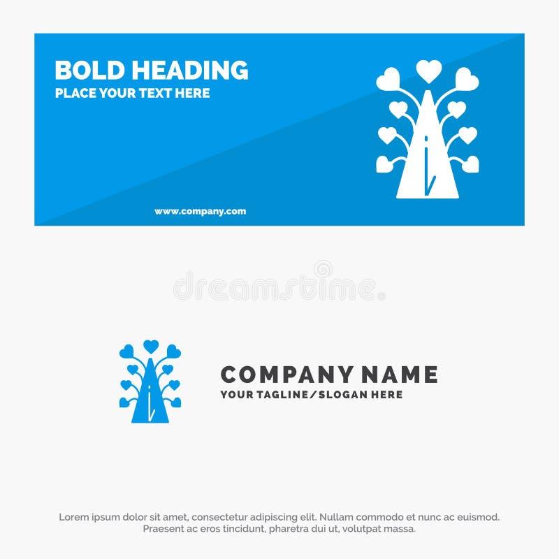 Amor, árvore, coração, Valentim, dia de Valentine's, bandeira contínua do Web site do ícone e negócio Logo Template ilustração royalty free