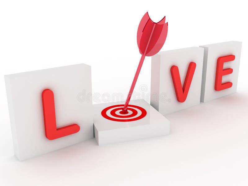 amor 3d com alvo ilustração do vetor
