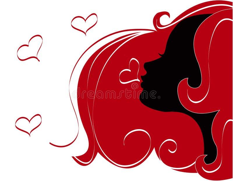 Amor abstracto de la ilustración de las mujeres stock de ilustración