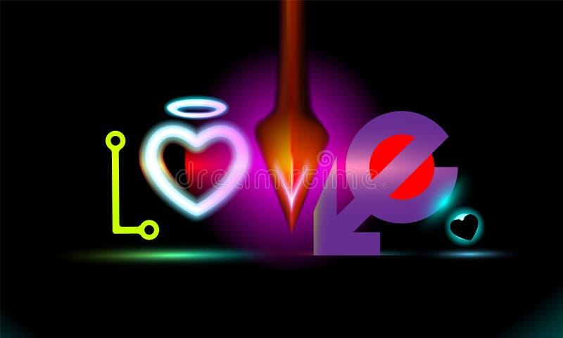 Amor abstracto de la inscripción del fondo con efecto radiante del neón del corazón Diseño multicolor del día de fiesta, iluminac ilustración del vector