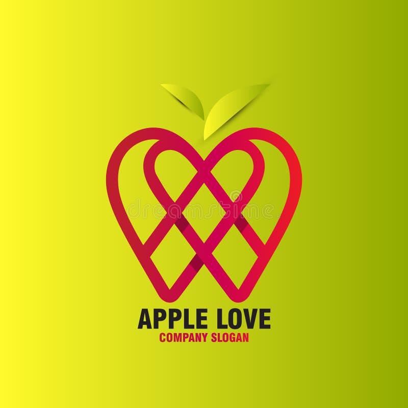 Amor abstrato da maçã ilustração do vetor