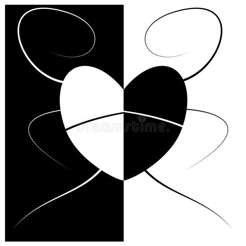 Amor abstrato e coração preto e branco ilustração stock