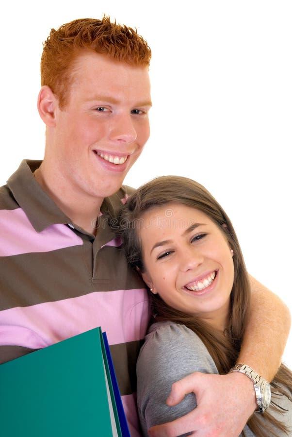 Amor adolescente da High School dos estudantes fotografia de stock royalty free