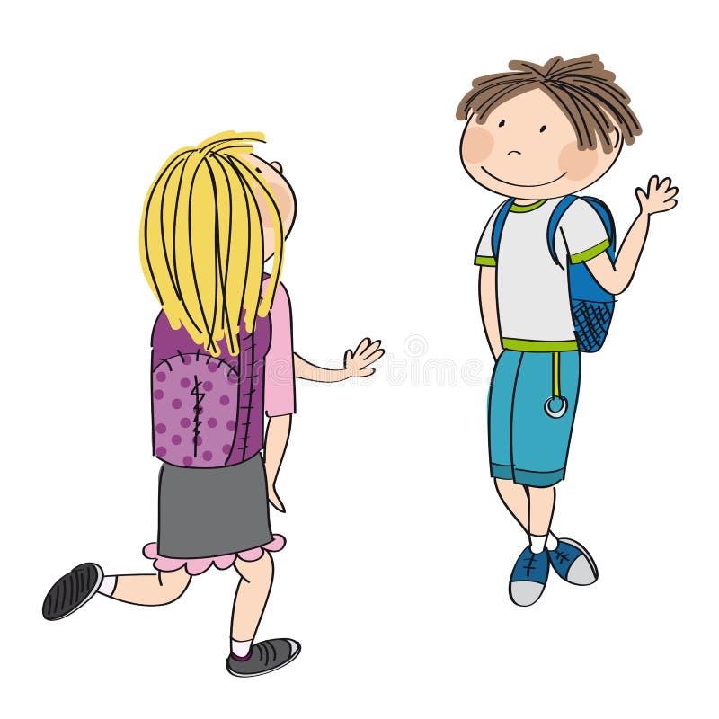 Amor adolescente Estudante nova que encontra sua colega de escola, menina loura ilustração royalty free