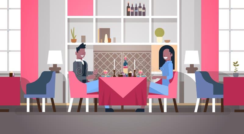 Amor afroamericano de la mujer del hombre de la cena de la tabla del café de los pares que se sienta de día de San Valentín del c libre illustration