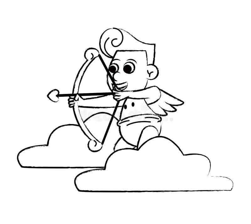 Amor auf Wolke mit Bogenskizze stock abbildung