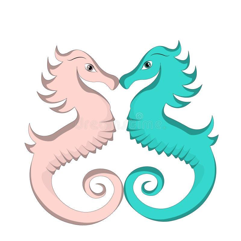 amor azul y rosado lindo de la historieta del seahorse stock de ilustración