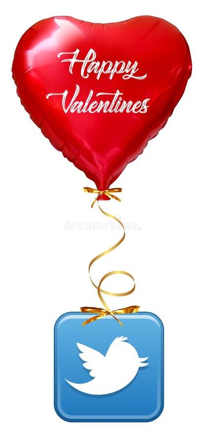 Amor Baloon isolado em branco, cora??o do Ballon: conceito vermelho do amor do Valentim, dia de Valentim ısolated ilustração do vetor