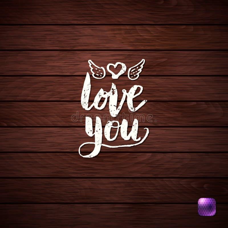 Amor branco você texto no fundo Textured de madeira imagens de stock