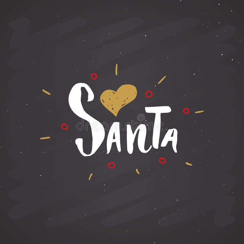 Amor caligráfico Papá Noel de las letras I de la Feliz Navidad Diseño tipográfico de los saludos Letras de la caligrafía para el  ilustración del vector