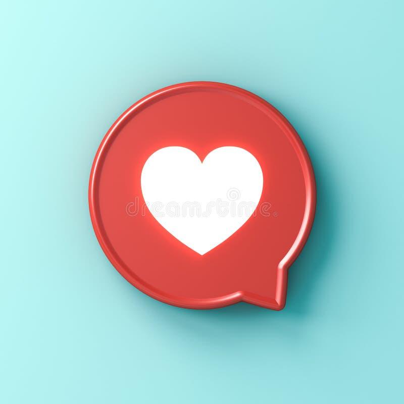 amor claro de néon da notificação social dos meios 3d como o ícone do coração no pino quadrado arredondado vermelho em claro - co ilustração do vetor