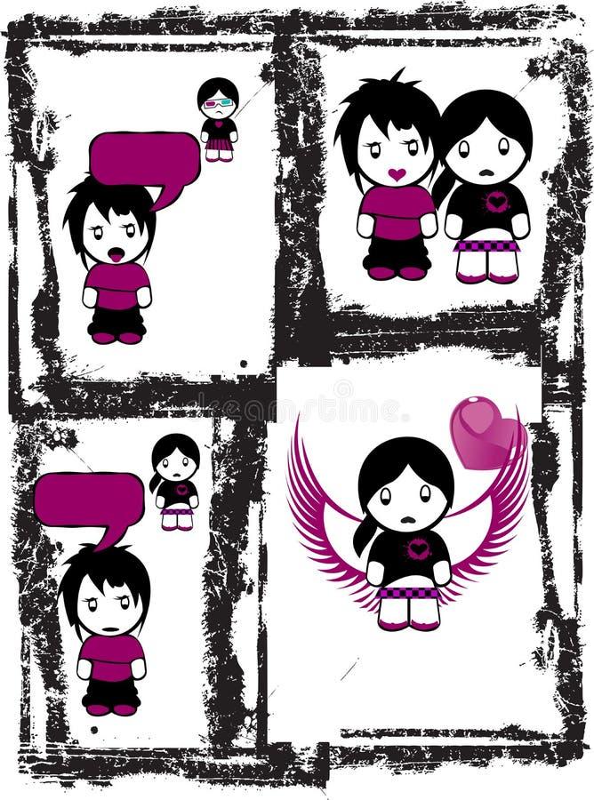 Amor Comix de Emo ilustração do vetor