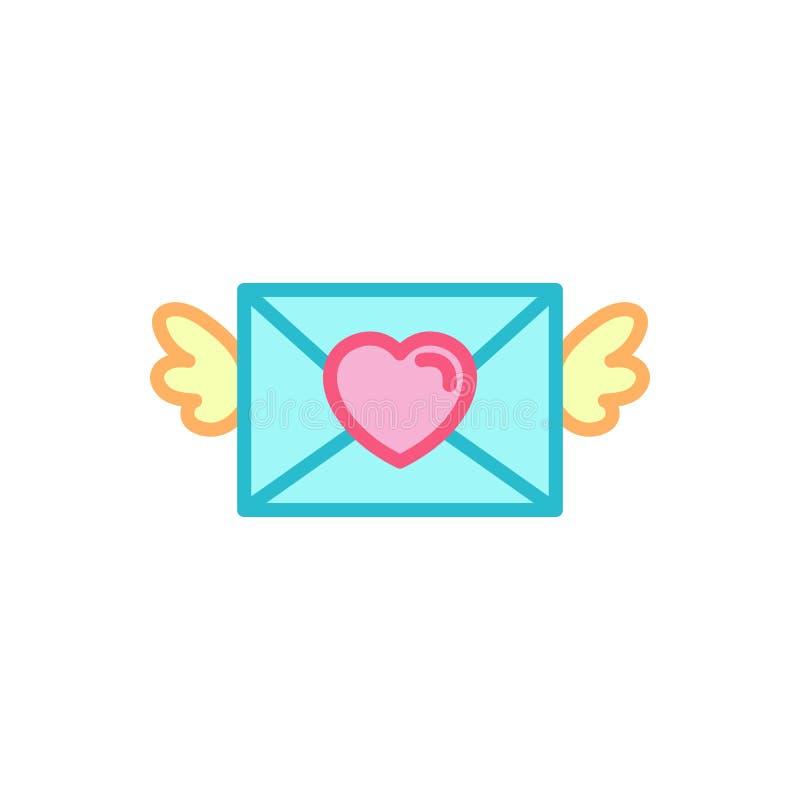 Amor con el icono con alas de la letra de amor del correo Línea simple estilo Logo Template Design del ejemplo del corazón stock de ilustración
