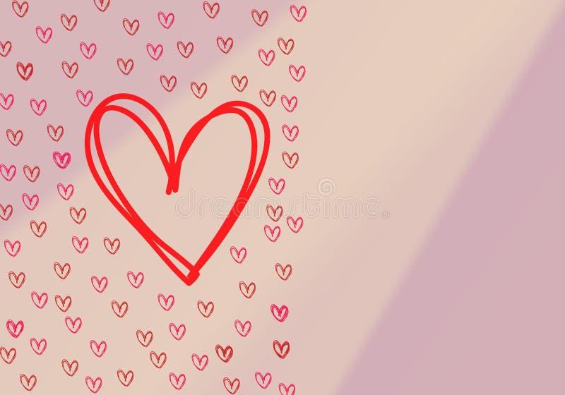 Amor con los corazones en un fondo blanco fondo inconsútil con diversos corazones coloreados del confeti por tiempo de la tarjeta libre illustration