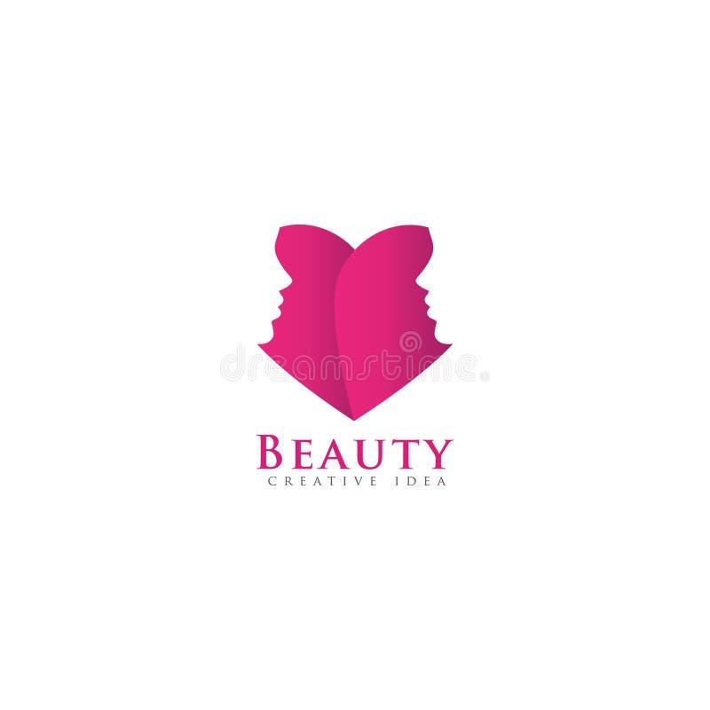 Amor cor-de-rosa com logotipo das mulheres da cara foto de stock royalty free