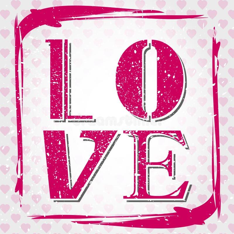 Amor cor-de-rosa do grunge ilustração royalty free