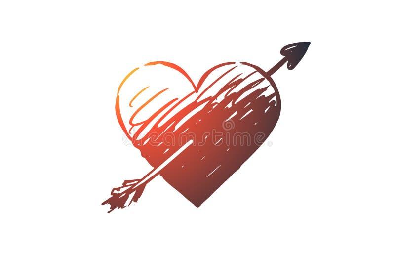 Amor, coração, seta, romântica, conceito do Valentim Vetor isolado tirado mão ilustração stock
