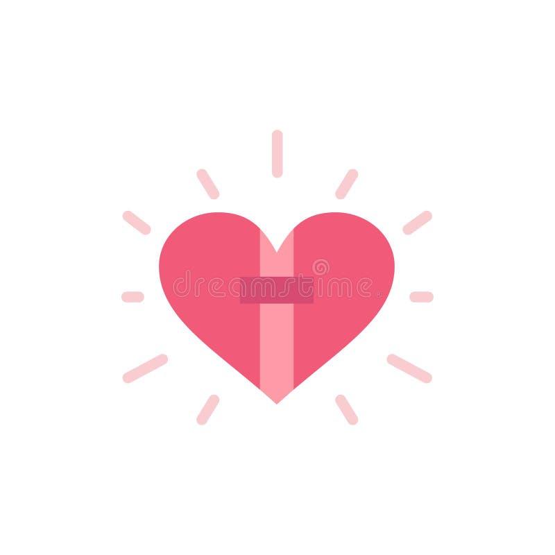 Amor, corazón, celebración, cristiano, icono plano del color de Pascua Plantilla de la bandera del icono del vector stock de ilustración